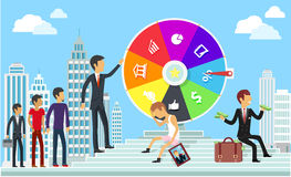Wheel of Business Fortune  Concept. Wheel of business fortune concept. Success gambling, win game, jackpot lottery, achievement and motivation, failure and Royalty Free Stock Photos