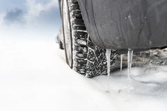 Wheel of car in snow Stock Photo