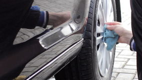 Wheel car wash stock video