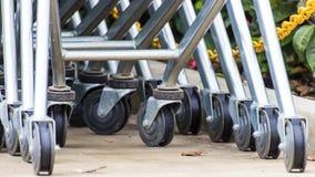 Wheel Cart,Shopping carts wheels closeup Royalty Free Stock Image