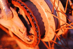 Wheel and chain of motorcycle Stock Photography