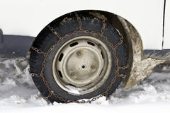 Wheel with chain in winter Royalty Free Stock Image