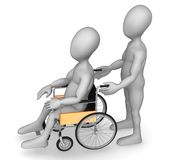 Wheel chair. 3d render of cartoon character with wheel chair Royalty Free Stock Photo