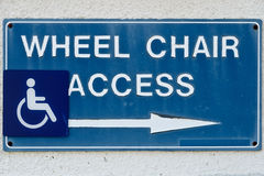 Wheel chair access sign Stock Image