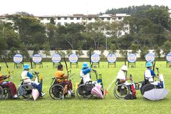 Wheel Chair Archery for Disabled Persons Stock Image