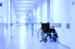 Wheel Chair At Corridor Of Hospital. Royalty Free Stock Image