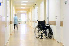 Wheel Chair At The Hospital Corridor. Royalty Free Stock Photos