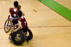 Wheel Chair Basketball for Disabled Persons (Men) royalty free stock photos