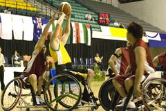 Wheel Chair Basketball for Disabled Persons (Men). Wheel chair basketball players in action in an international tournament stock photos