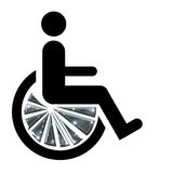 Wheel Chair Bling. Icon man in wheel chair with chrome bling wheels stock illustration