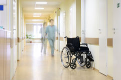 Wheel chair at corridor of hospital. Stock Photos