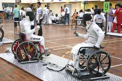 Wheel Chair Fencing Stock Photo