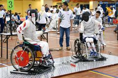 Wheel Chair Fencing Royalty Free Stock Photography