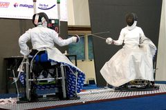 Wheel Chair Fencing royalty free stock images