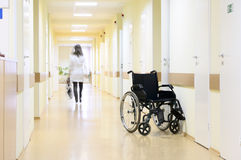 Wheel chair at the hospital. Royalty Free Stock Image