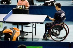 Wheel Chair Men's Table Tennis Stock Photo