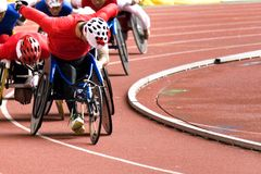 Wheel Chair Race for Disabled Persons.  royalty free stock photo