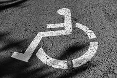 Wheel chair sign parking spot Stock Photography