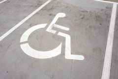 Wheel chair symbol on a parking place. stock photography