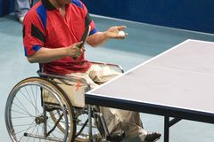 Wheel Chair Table Tennis for Disabled Persons. International wheel chair table tennis for disabled persons royalty free stock image