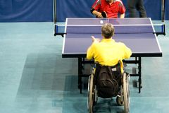Wheel Chair Table Tennis for Disabled Persons. International wheel chair table tennis for disabled persons royalty free stock photography