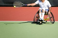 Wheel Chair Tennis for Disabled Persons (Men) Royalty Free Stock Images