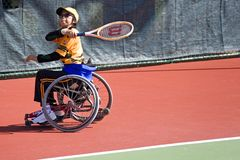 Wheel Chair Tennis for Disabled Persons (Women) Royalty Free Stock Photos