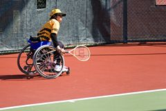Wheel Chair Tennis for Disabled Persons (Women) Royalty Free Stock Photography
