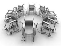 Wheel chairs circular array Royalty Free Stock Photography