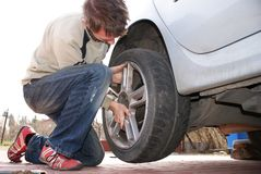 Wheel changing Royalty Free Stock Photo