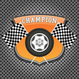 Wheel and checkered flags Royalty Free Stock Image