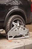 Wheel clamp. Car Stock Photos