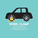 Wheel Clamp On Car Side View. Vector Illustration Stock Photo