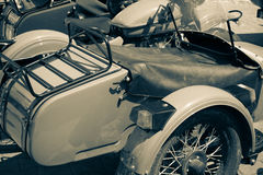 Wheel of classic motorcycle, vintage picture style. Selective fo Stock Photos