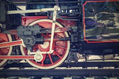Wheel closeup of old locomotive on railroad Royalty Free Stock Photography