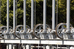 Wheel cogs. Of a small dam Stock Images