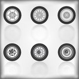 Wheel collection with reflection Royalty Free Stock Photos