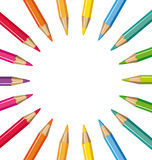 Wheel of colored pencils Royalty Free Stock Images