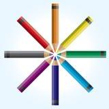 Wheel of Colored Pencils Illustration Stock Photos