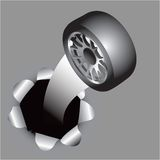 Wheel coming out of hole Royalty Free Stock Photo