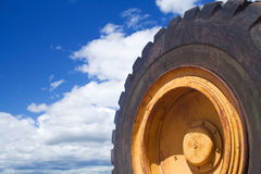 Wheel of Construction. A close up of a wheel at a construction site Royalty Free Stock Image