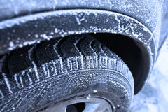Wheel covered with hoarfrost concept of winter weather Royalty Free Stock Photography