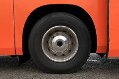 Wheel with damaged rim on a wet road Stock Photography