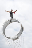 Wheel of death performer Stock Image