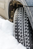 Wheel in deep winter snow snowbank Royalty Free Stock Photography