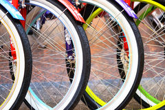 Wheel detail of a group of bikes Royalty Free Stock Image