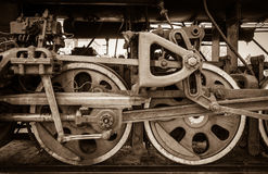 Wheel detail of a steam train locomotive stock image