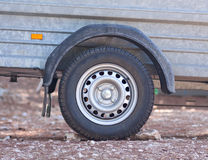 Wheel detail of vehicle drawbar trailer Royalty Free Stock Photo
