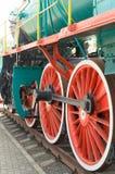 Wheel detail of a vintage steam train locomotive. Stock Photos