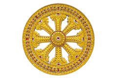 Wheel of dhamma of buddhism Stock Images